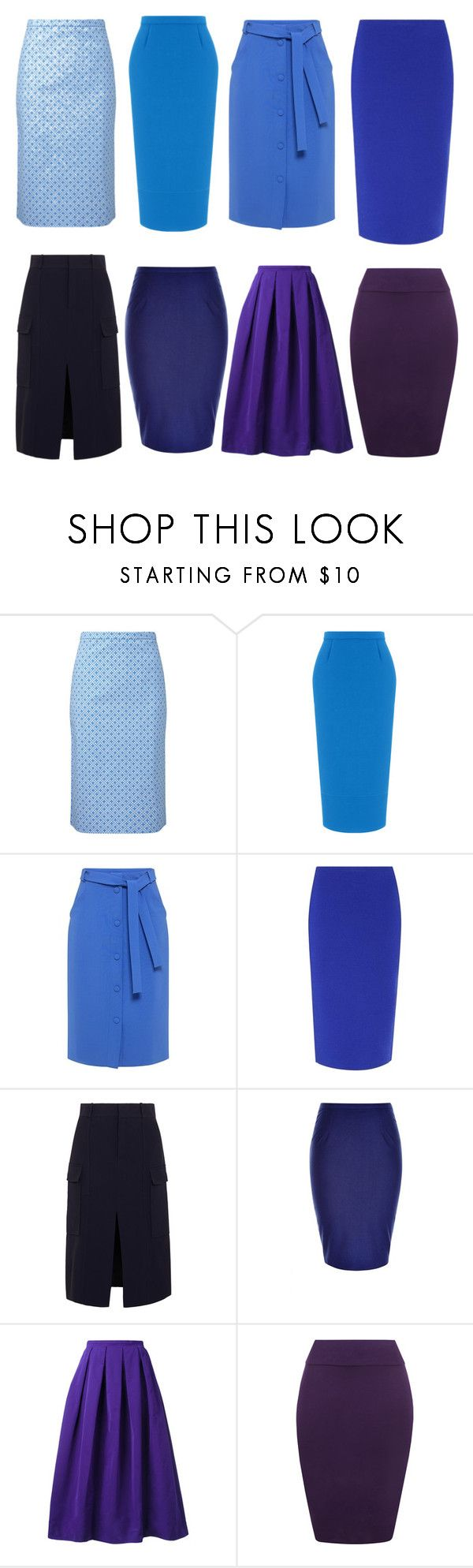 """""""юбки синие"""" by tamaraatma on Polyvore featuring Roland Mouret, Mother of Pearl, Diane Von Furstenberg, Chloé, City Chic, Rochas and WearAll"""
