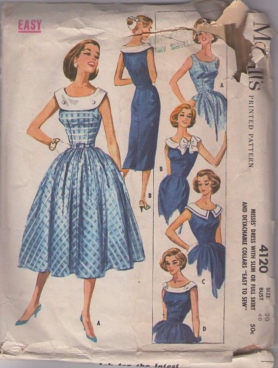MOMSPatterns Vintage Sewing Patterns - McCall's 4120 Vintage 50's Sewing Pattern Rockabilly BOMBSHELL Detachable Collars Sheath Dress, Full Skirt Party Gown