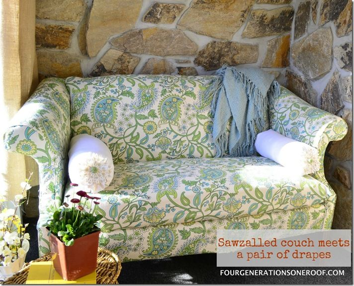 Wow... DIY loveseat with Pier 1 window panels as the upholstery