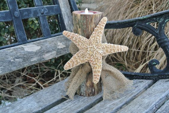 Beach Wedding Centerpiece Log Candle Holder Sugar by JCBees