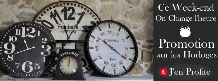 Ce week-end on change d'heure ! Promotion sur les Horloges de cuisine dans la boutique Cosydeco.com Horloges rétro, horloges de gare, grandes horloges murales ....