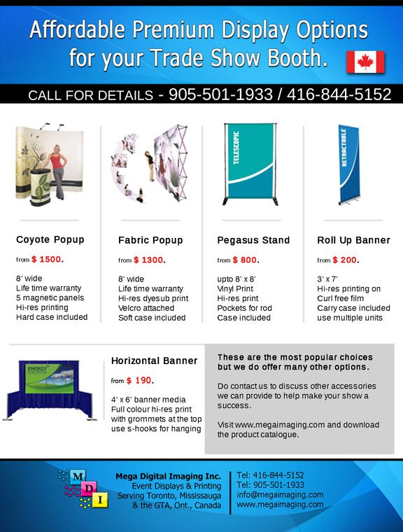 We are a Canadian company, supplying #Trade #Show #Displays and Large Format Printing for over 15 years. Below are some Premium Display Options for your Events. More information at:- http://www.megaimaging.com/