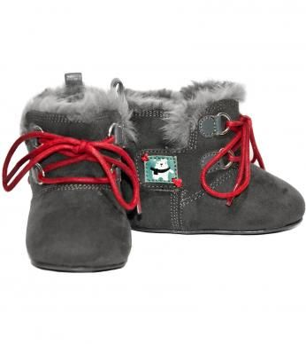 """Solid color novo suede upper with double sided velcro tab closure, faux fur lining & insole, leather front trim & back pull tab, front decorative cotton lace trim, teddy picnic print rubber out sole, embroidery trimmed teddy bear print leather patch side trim and embroidered """"naartjie"""" print patch trim on heel. All man-made materials. Imported."""