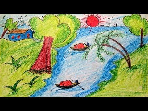 How to Draw Scenery of Summer Season for Kids | Drawing Village Scenery ...