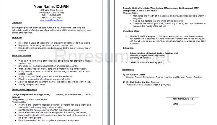 Nursing Cv, Student Nurse Resume And Nursing Resume Examples