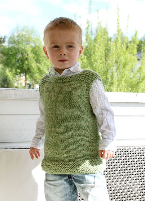 Plain vest, 1-10 years. Free pattern for size 5-6 years
