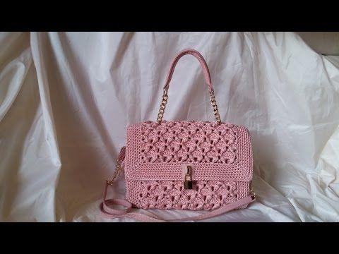 DIY Tutorial - Crochet Easy Casual Friday Handbag with Lining - Lined Purse Bag Bolsa Borsa - YouTube