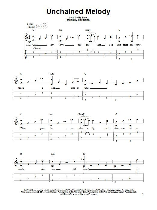 The Righteous Brothers: Unchained Melody - Partition Tablature guitare facile - Plus de 70.000 partitions à imprimer !: