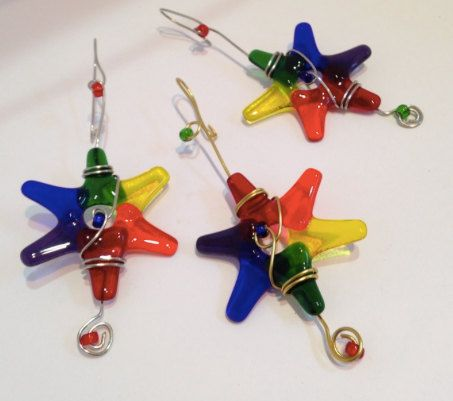 HANDmade Fused Glass Stars / Set of 3 / Rainbow Colors by cyvonneh