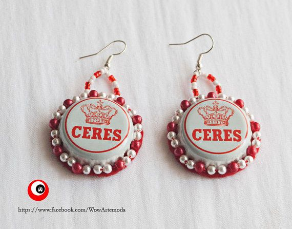 Ceres Beer Cap Earrings - Beer Jewels - Green and Silver colors - handmade - wear originality - Eco Friendly by WoWArteModa, €9.90