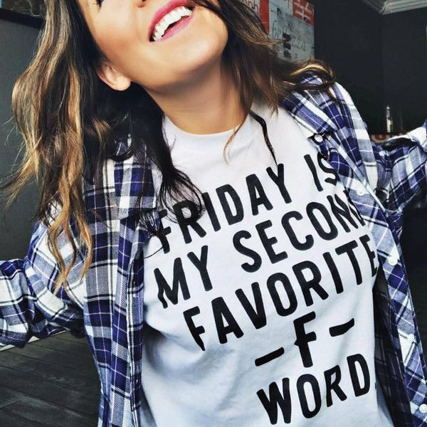Friday Is My Second Favorite F Word F Word Friday Funny Tee ($17) ❤ liked on Polyvore featuring tops, t-shirts, black, women's clothing, crewneck shirts, monogrammed shirts, tee-shirt, vinyl t shirt and slim fit shirts