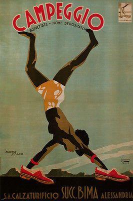 campeggio VINTAGE AD poster mario borrione ITALY 1932 24X36 collectors RARE