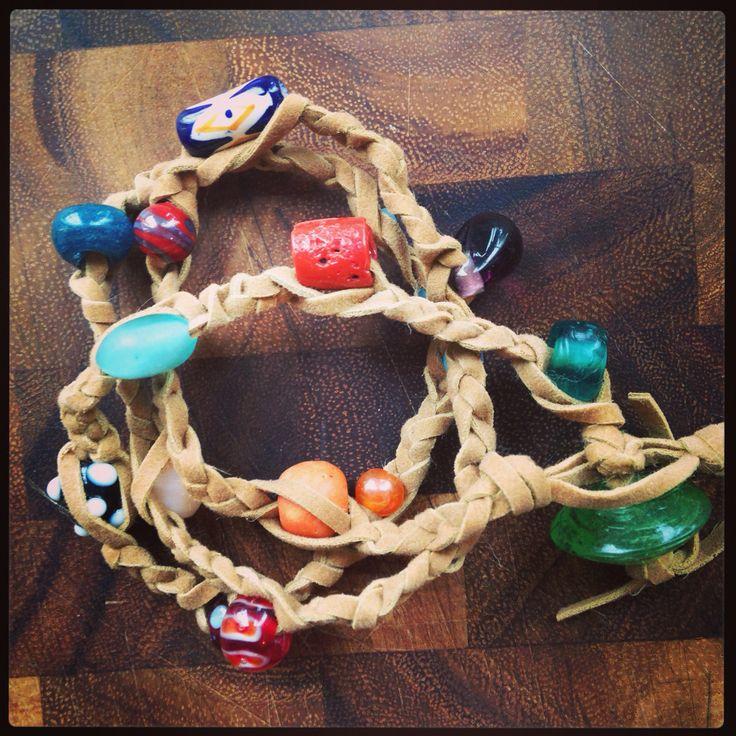 Leather and bead braided boho bohemian wrap bracelet. One of my favs so far!