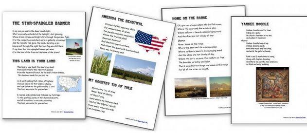 Free Patriotic Songs for Kids Printables