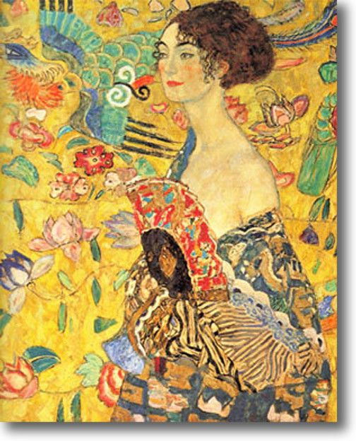 KLIMT LADY WITH A FAN STRETCHED CANVAS GICLEE ART REPRO PRINT 30x24 in Art, Art from Dealers & Resellers, Prints | eBay