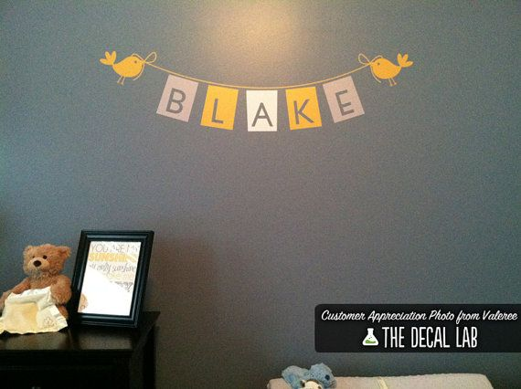 Baby Nursery Wall Decal - Bunting Flags Custom Girls Name - Personalized Childrens Wall Decal