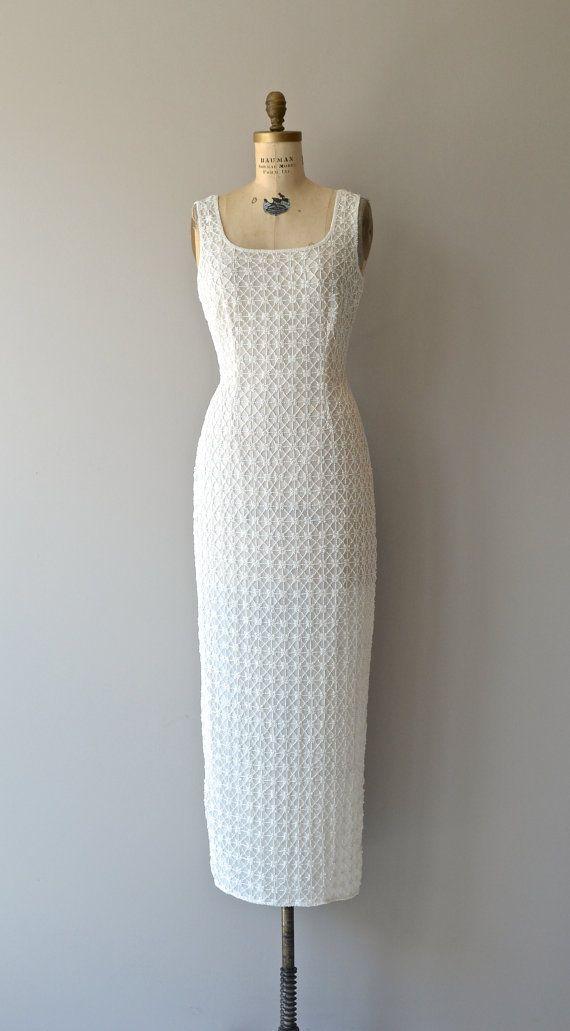 Beaded Plinth dress vintage white beaded dress by DearGolden