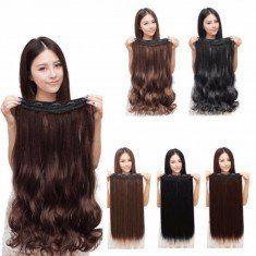 Mujeres clip en extensiones de cabello largo recto rizado con 5 clips de 3 colores