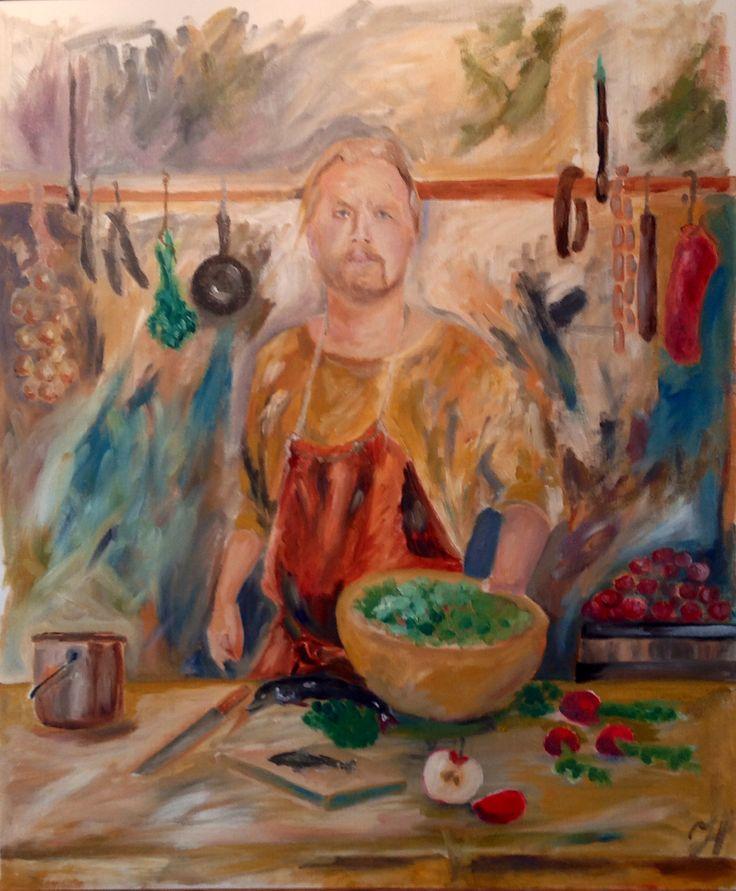 Chef. Oil on canvas board.