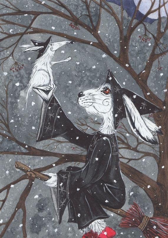 Magical A4 Archival Print - A Winter's Night Ride - Ursula the Arctic White Hare Witch