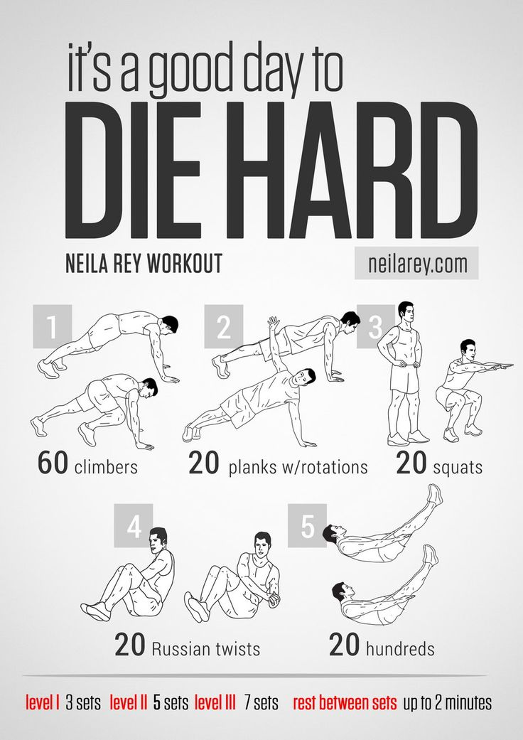Die hard workout abs core quads shoulders when you