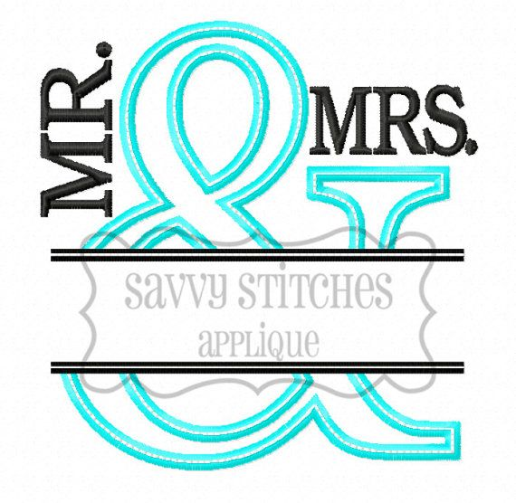 Split And Applique    Sized to fit hoops: (size and stitch count reflect design WITH Mr and Mrs wording)   4X4 (8781 stitches, 3.88X3.87)