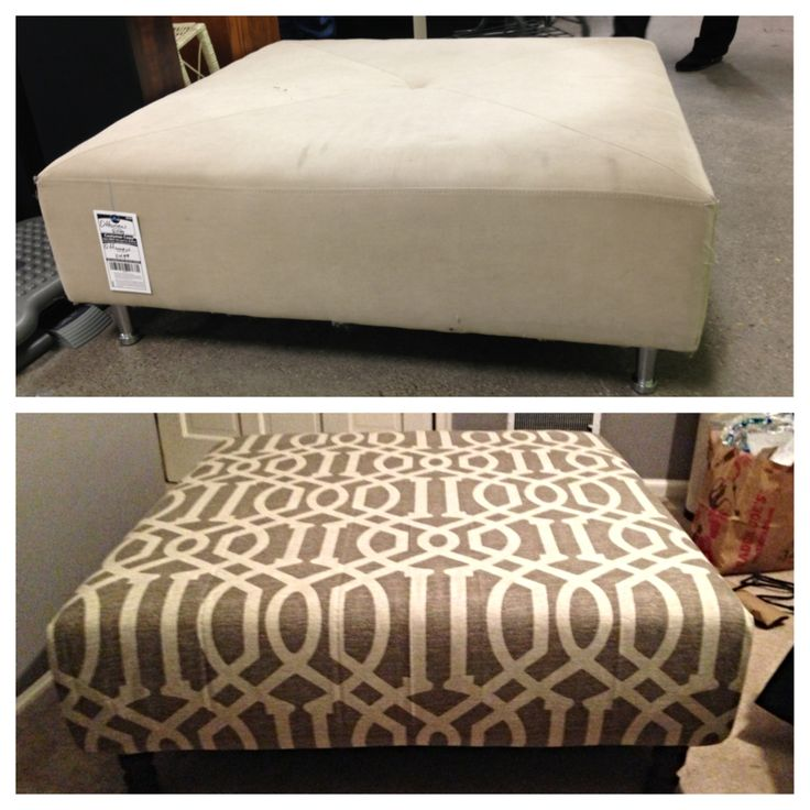 $22 ottoman from Goodwill + a shower curtain + 3 hours and a staple gun = an adorable DIY upholstered ottoman
