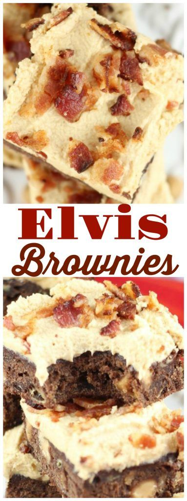 Banana brownies with peanut butter chips, peanut butter buttercream, and crumbled, fried bacon! There is no way you can resist these Elvis Brownies!