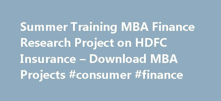 Summer internship project report for finance project finance