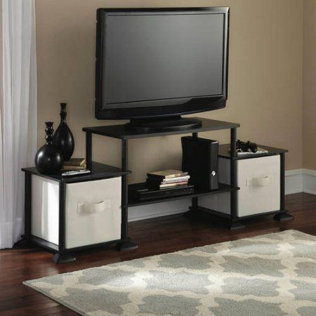 awesome Mainstays 40 inches Contemporary Plasma/LCD TV Stand Entertainment Center Wood Composite and Plastic