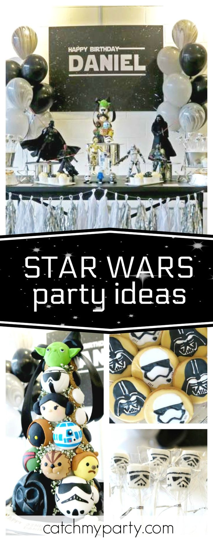 Check out this awesome Star Wars birthday party! Love that it's all in black & white!! See more party ideas and share yours at CatchMyParty.com