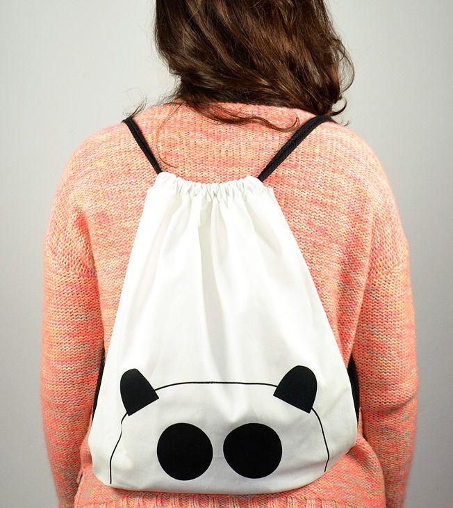 panda rulez!  #rucksack #backpack #zaino #mochila #totebag #cotton #serigrafia #handmade #panda #screenprinted #black&white #tote #bag