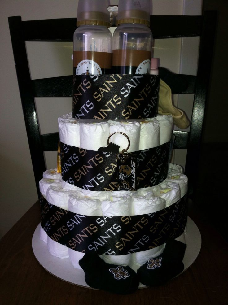 A personal favorite from my Etsy shop https://www.etsy.com/listing/219581100/nfl-saints-diaper-cake