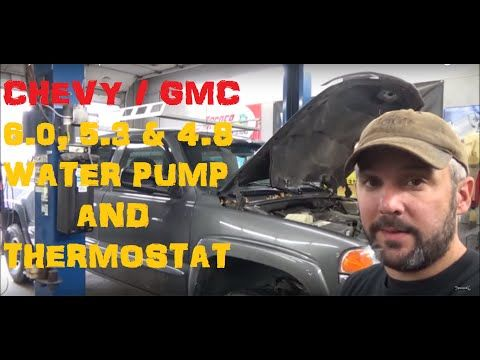 2000-2006 GMC Yukon waterpump with thermostat remove and install - YouTube