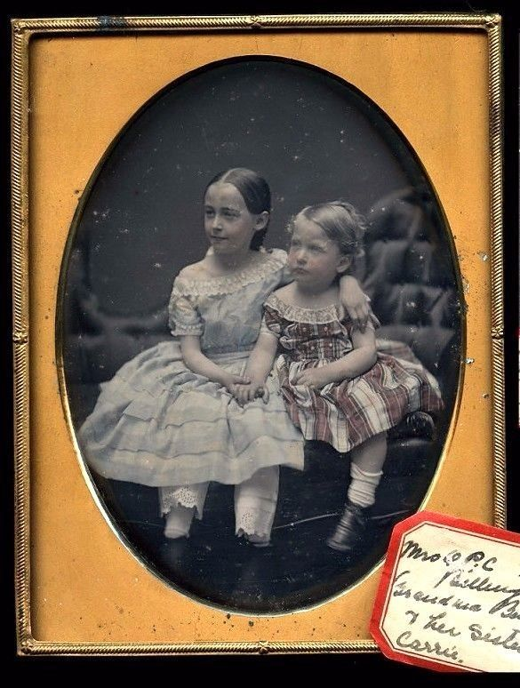 half plate hand tinted daguerreotype id'd siblings possibly by williamson