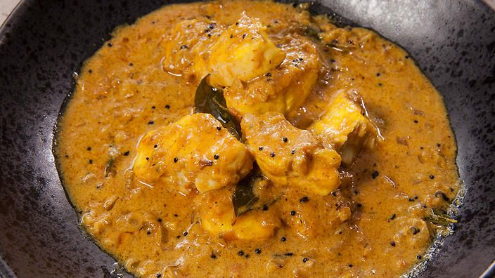 Malayi fish curry. Use halibut or other firm white, mild fish fillets. Recipe by Anjum Anand.