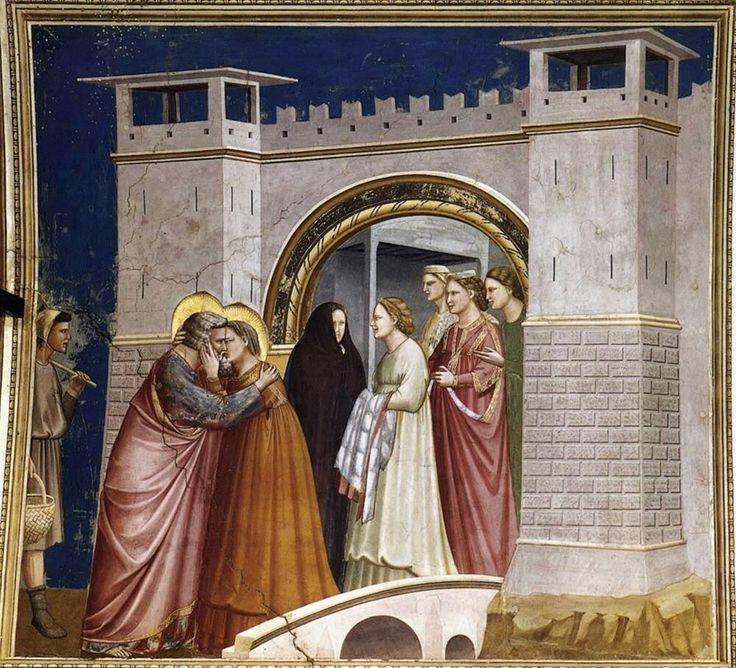 Incontro alla Porta d'Oro AutoreGiotto, Data1303-1305 circa, Tecnicaaffresco, Dimensioni200×185 cm, UbicazioneCappella degli Scrovegni, Padova