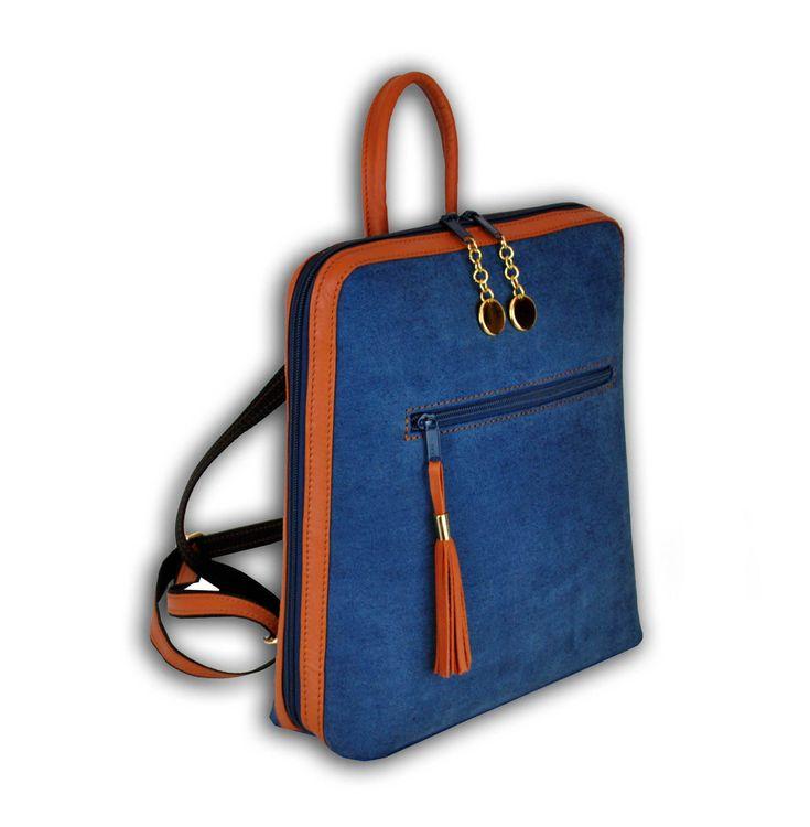Dámsky ruksak z talianskej prírodnej hovädzej kože, imitácia rifloviny. S nádherným koženým ruksakom (batohom) budú vaše každodenné rutiny praktické. https://www.vegalm.sk