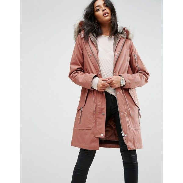 ASOS Parka with Detachable Faux Fur Liner (£75) ❤ liked on Polyvore featuring outerwear, coats, pink, tall coats, pink faux fur coat, faux fur coat, asos coats and faux fur hooded coat