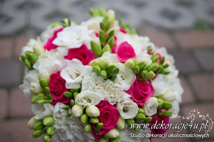 Frezja, róża - kolory malinowo - białe - www.dekoracje4u.pl