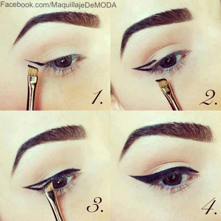 Easy Way To Do A Cat-Eye!!  is it just me or does this girl's eyes look like Demi Lovato's?