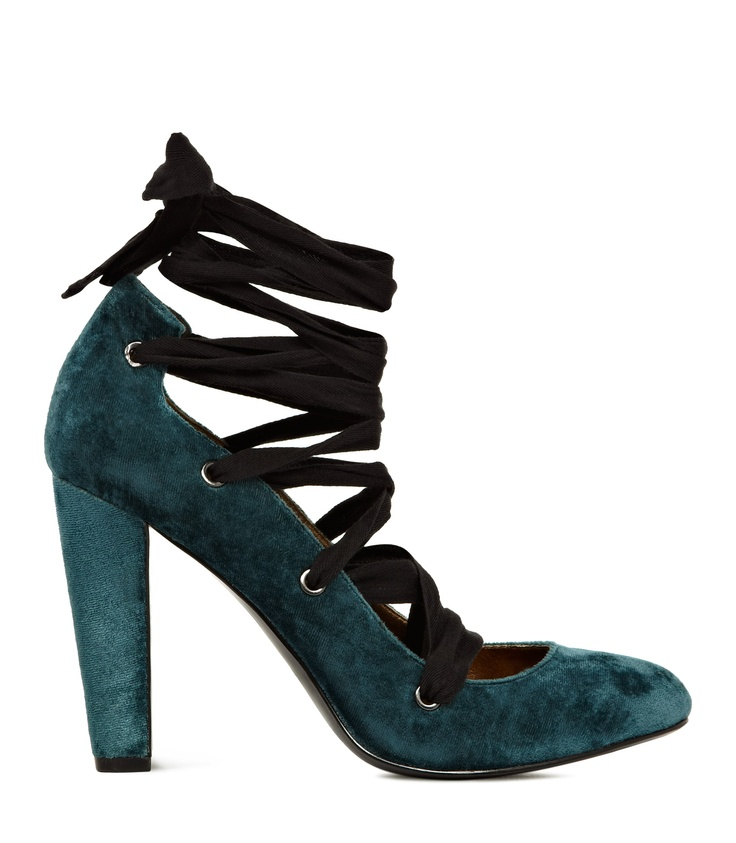 12/5/12 Trudie Teal Ribbon Detail Court Shoes