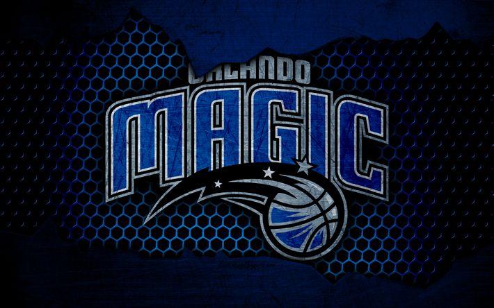 Download wallpapers Orlando Magic, 4k, logo, NBA, basketball, Eastern Conference, USA, grunge, metal texture, Southeast Division
