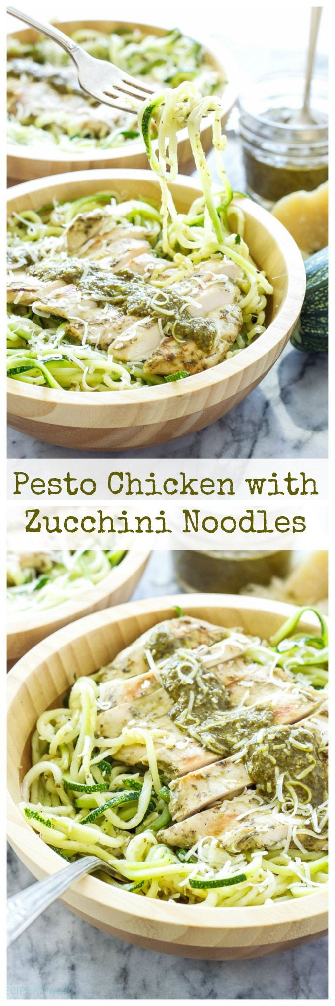 Pesto chicken on top of zucchini noodles is a healthy and delicious alternative to regular pasta!