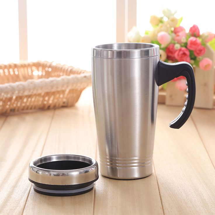 Stainless Steel Insulated Travel Mugs Double Wall Tea Mug Cup Thermal Tableware With Handle Portable