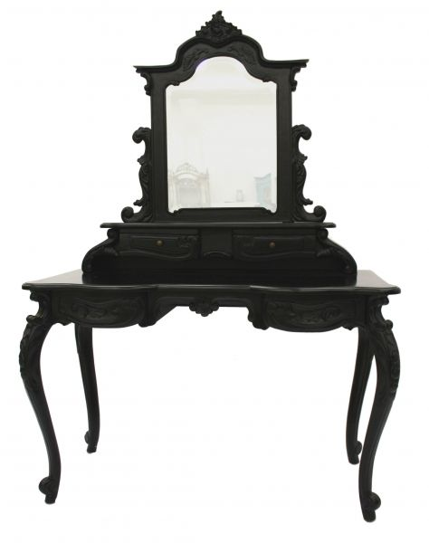 French Style Furniture Gothic Black Dressing Table with Mirror Luxury