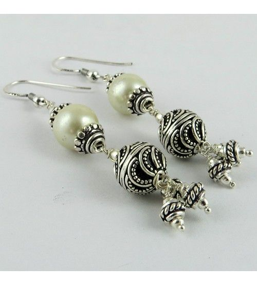 Oriental Oxidized Pearl 925 Sterling Silver Earring,  Weight: 13.1 g, Stone - Pearl, Stone - Pearl, Size - 6.5 x 1.0 cm, Wholesale Orders Acceptable, All Pieces have 925 Stamp