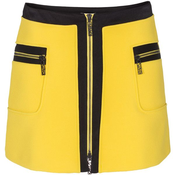 KENZO Textured Graphic Yellow Mini skirt with zipper found on Polyvore