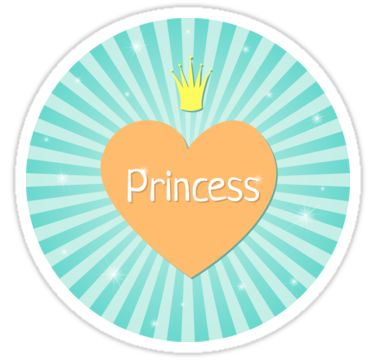 Lovely Princess by LunaPrincino  #design #graphic #print #prints #redbubble #gift #idea #ideas #stationery #sticker #stickers #graphics #cool #creative #office #style #princess #heart #lovely #girlish #for #girls #kids #pretty #cute #teal #turquoise #beautiful #little #crown #sparkle #sunburst #school