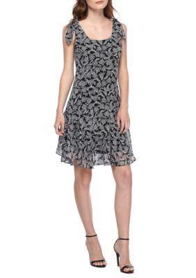 Donna Morgan Women's Printed Tie Shoulder Drop-Waist Flounce Hem Dress - Black/Ivory - 16
